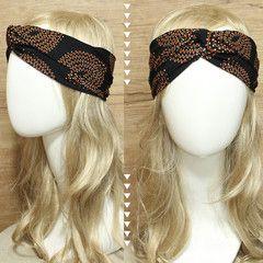 Dotted Orange Leaf Headband Turban