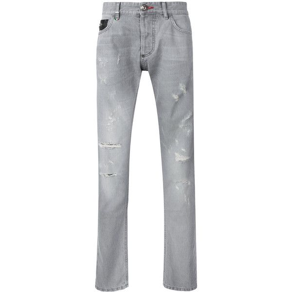 Philipp Plein distressed straight leg jeans ($455) ❤ liked on Polyvore featuring men's fashion, men's clothing, men's jeans, grey, mens ripped jeans, mens distressed jeans, mens straight leg jeans, mens torn jeans and mens grey jeans