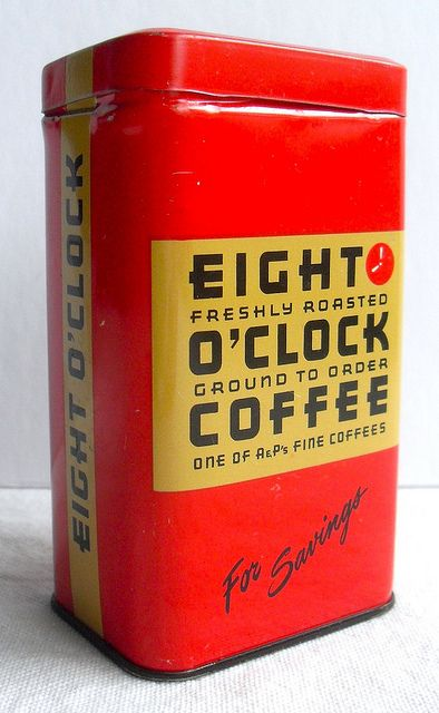 Promotional savings bank made to appear like bags of A&P Eight o'clock coffee. My parents drank this, the medium roast brew and occasionally Bokar, the dark roast.