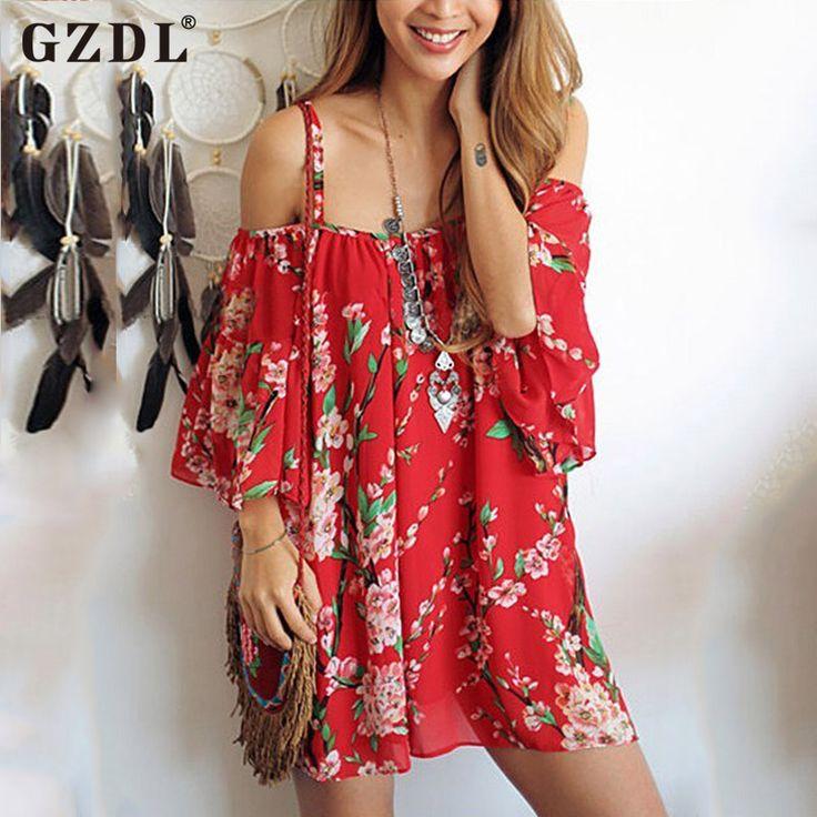 GZDL Vintage Floral Print Women Summer Beach Off Shoulder Casual Loose Draped Chiffon Shirt Dresses Vestidos De Verao CL2912