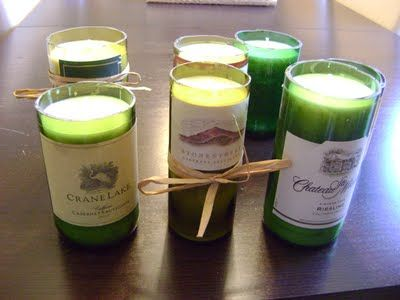 Wine bottle candles--@Julie Forrest Petroski, we need a craft/gift day at your house! We could make a bunch of these, but I'd need your hubby's help with the sanding!