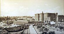 La Bastille: célèbre forteresse à 8 tours, construite en 1370 par Hugues Aubriot, près du faubourg Saint-Antoine de Paris, pendant la guerre de Cent Ans.