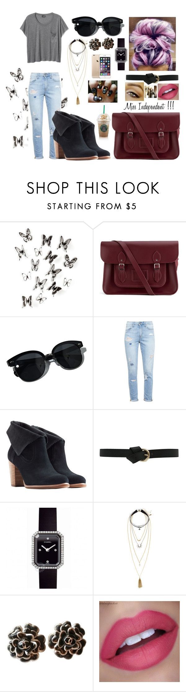"""""""Miss Independent !!!"""" by jade-vieira ❤ liked on Polyvore featuring Umbra, The Cambridge Satchel Company, Oliver Peoples, Paige Denim, UGG Australia, Chanel, H&M and CO"""
