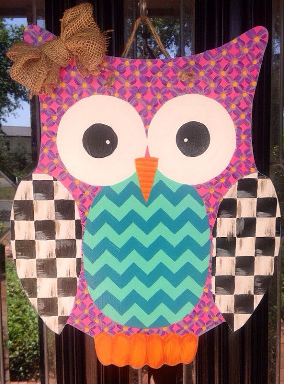Wooden Owl painted in MacKenzie checkered, Chevron & other summer patterns on Etsy, $50.00