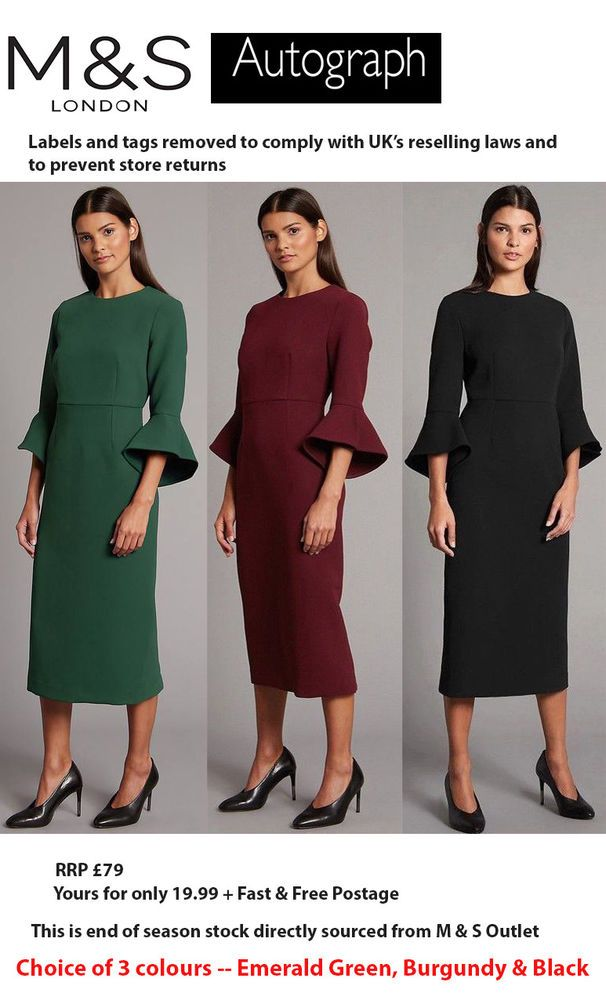 Marks and Spencer Flared Sleeve Bodycon Midi Dress Black and Green