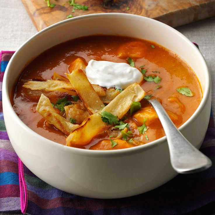 Anaheim Chicken Tortilla Soup Recipe -Want to put a little spice in your holiday season? Anaheim peppers, jalapenos and cayenne will do just that! —Johnna Johnson, Scottsdale, AZ