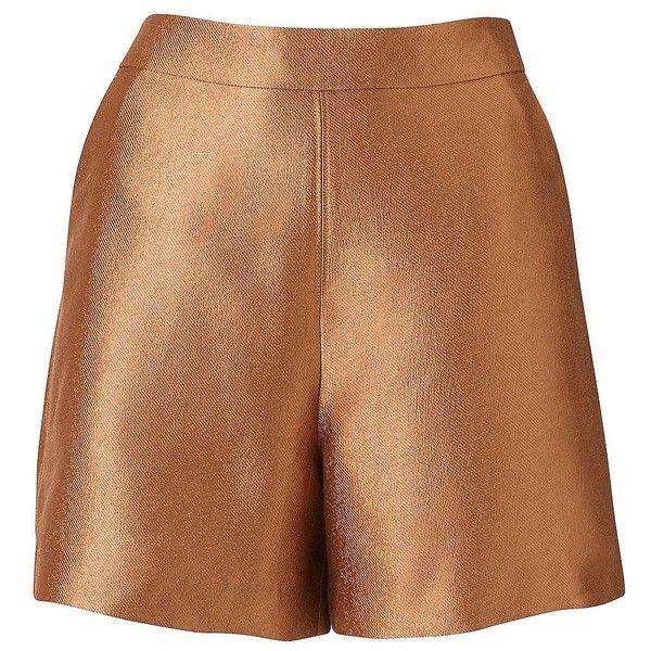 Witchery Metallic Short (€64) ❤ liked on Polyvore featuring shorts, short shorts, a line shorts and metallic shorts