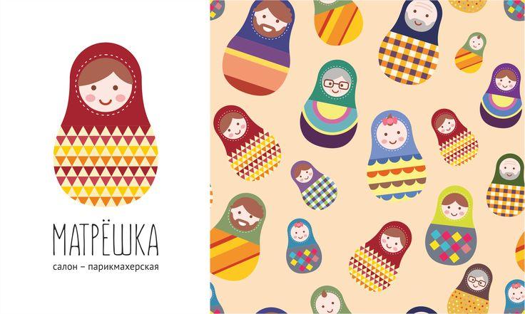 """Логотип и узор для салона-парикмахерской """"Матрешка"""" в Перми / Logo and design for a hair salon """"Matryoshka"""" in Perm"""