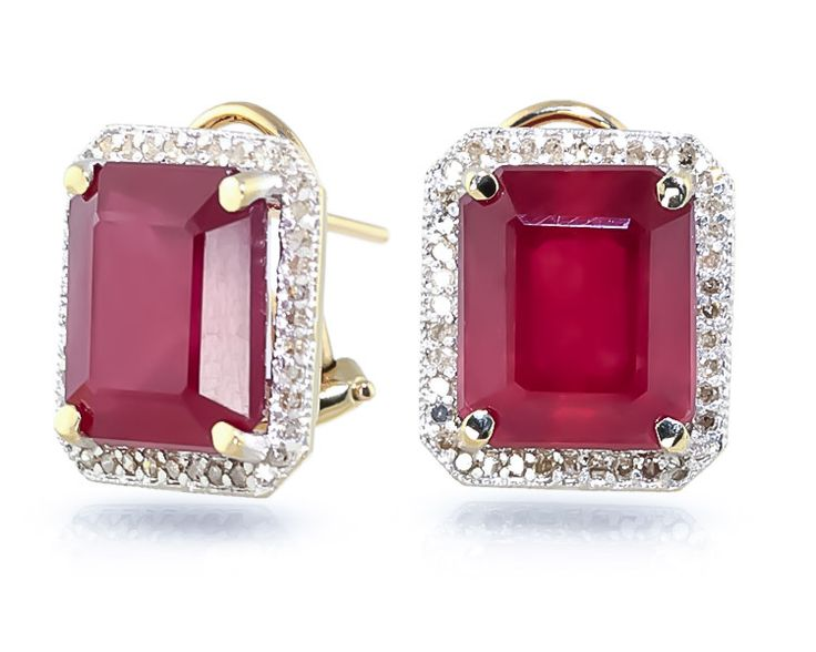 Ruby and Diamond French Clip Halo Earrings 14.5ctw in 9ct Gold #Gemstones #Jewellery #GemstoneJewellery