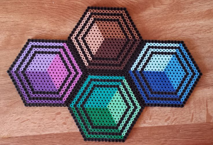 Perler Hexagon coasters.