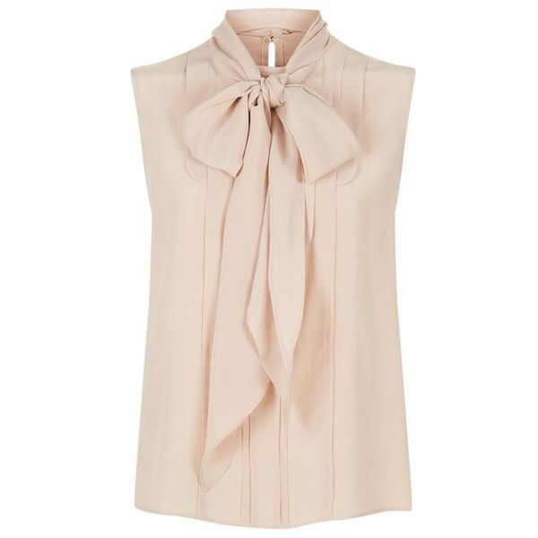 Max Mara Pleated Bib Pussybow Blouse found on Polyvore featuring tops, blouses, shirts, sleeveless top, bib shirt, bow tie collar shirt, pink blouse, silk top and bow tie neck blouse
