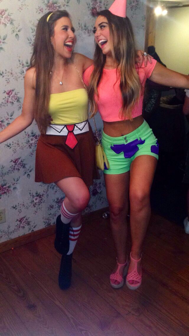 spongebob and patrick halloween costume for spongebob could do like that or long sleeve yellow tee with white collar shirt and red tie on top with brown - Cute Teenage Girl Halloween Ideas
