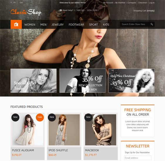 This Bootstrap PrestaShop theme comes with a responsive layout, a back to top button, over 500 Google Fonts, CSS3 and HTML5 code, unlimited colors, Ajax product search with images, a mega menu, Cloud Zoom, and more.