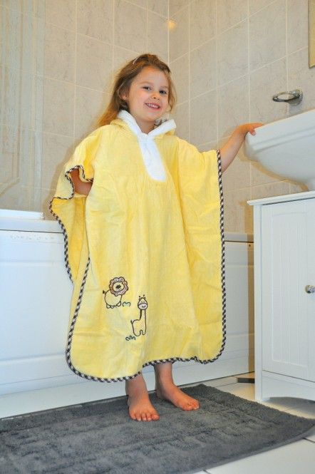Our new Sunshine Zoo bath poncho with hood is made from lovely soft 100% terry cotton in sunshine yellow. The lovely embroidery with zoo animals and contrasting trim make it an eye catcher on the beach or at the swimming pool.