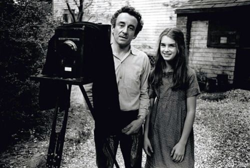 """lapetiterobenoire:    Louis Malle and Brooke Shields on the set of """"Pretty Baby"""""""