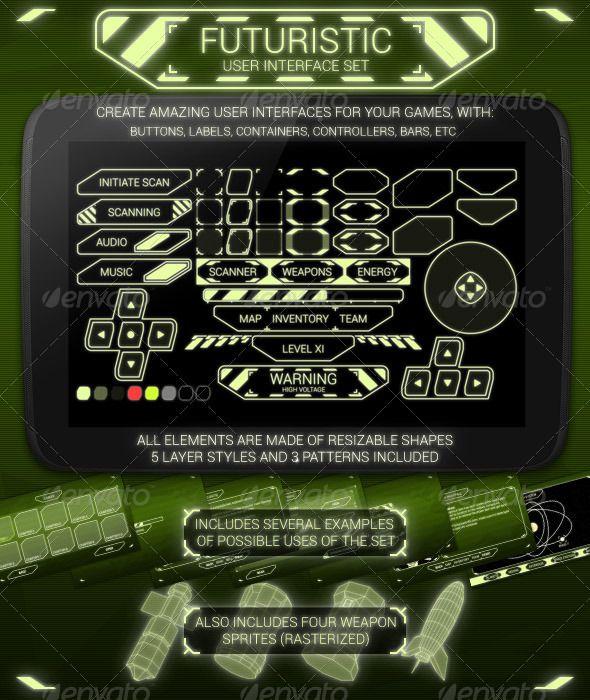 Futuristic User Interface Set - User Interfaces Web Elements
