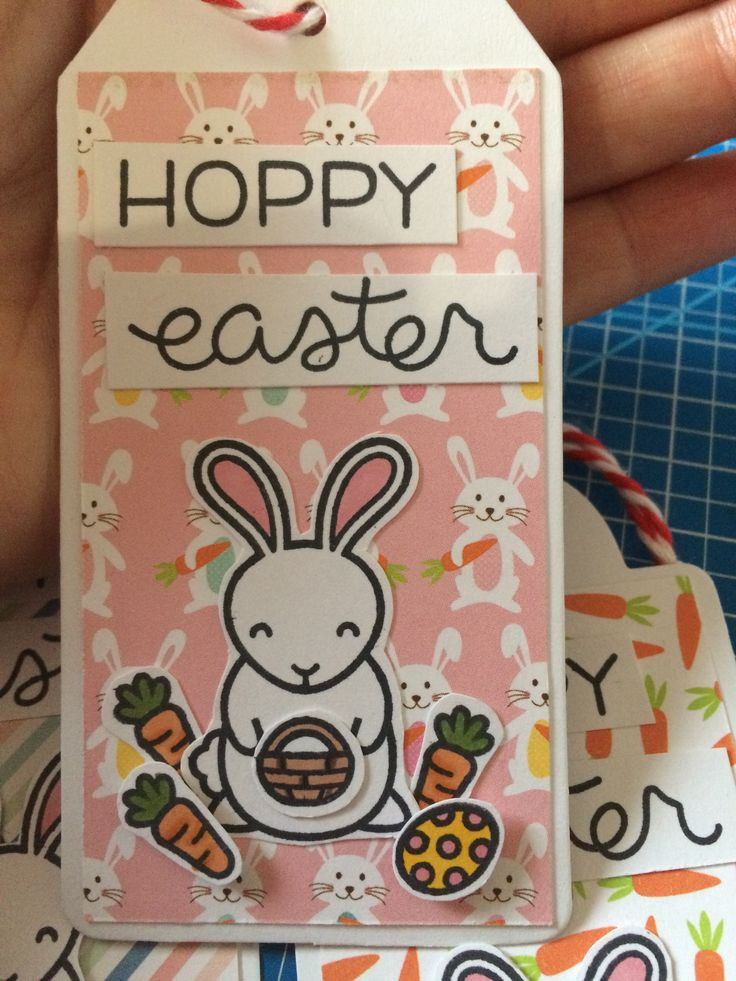 Lawn Fawn - Hoppy Easter tag - created by Eszter Wittmann