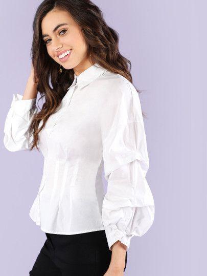 dc20737f Bubble Sleeve Button Up Blouse -SheIn(Sheinside)   Baju inggris