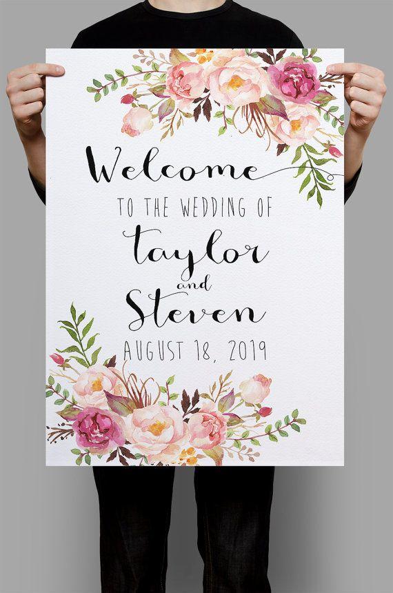 Printable Wedding Sign Welcome Wedding Sign by HappyLifePrintables