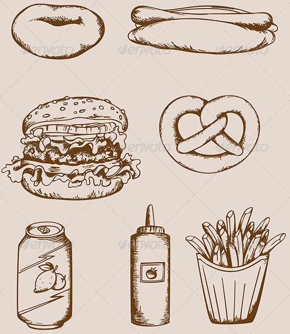 Fast Food Vintage Icons