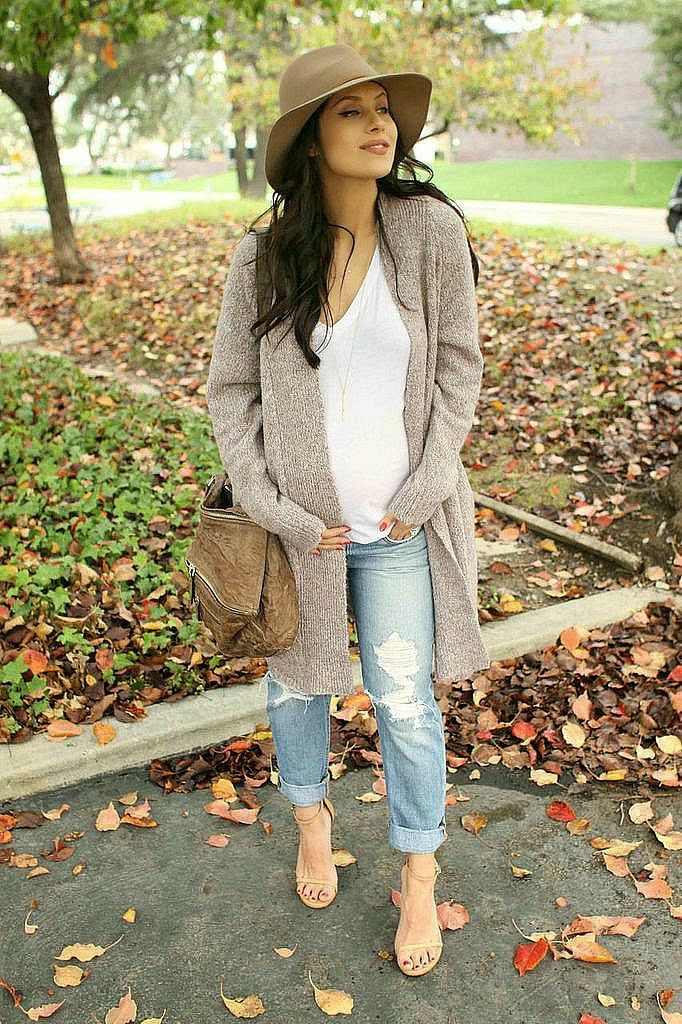 The HONEYBEE // Windsor cardi, Bobi tee, Gorjana Necklace, Joe's Jeans Distressed Skinnies, Stuart Weitzman Sandals, Janessa Leone Hat, and Givenchy bag..