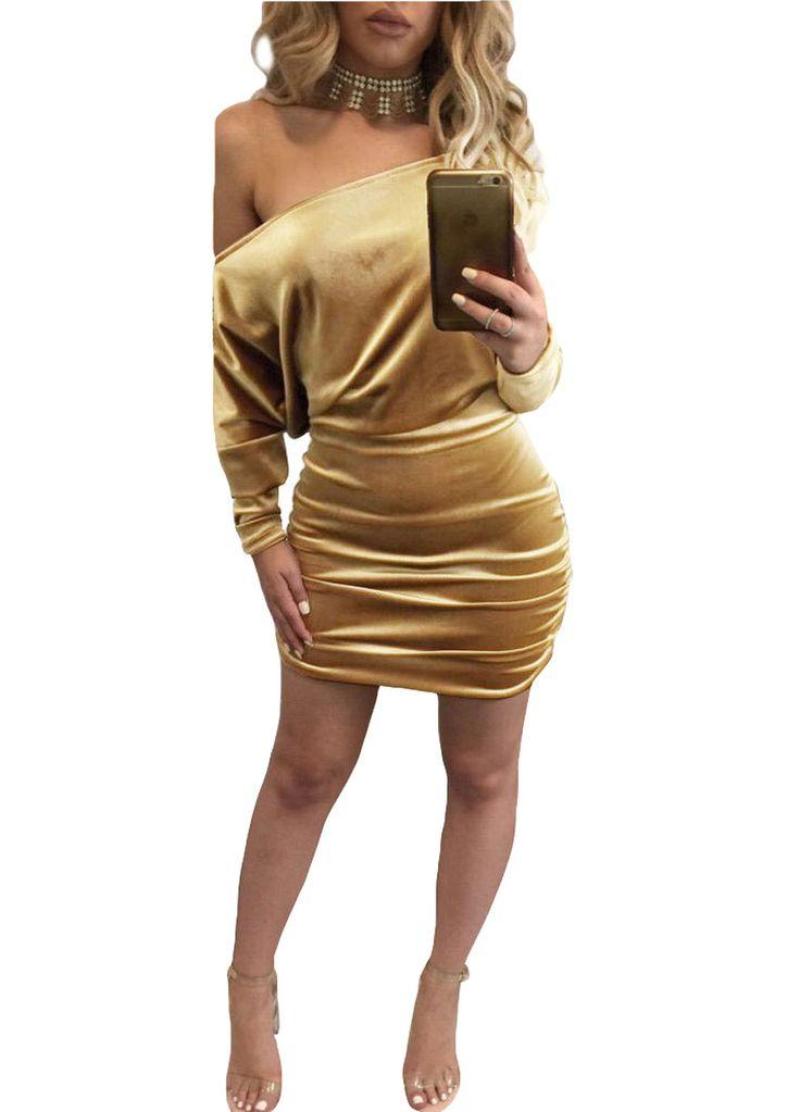 Velvet Off Shoulder Ruched Dressclub Dressclubwear Clothingsexy Lingeire  Cheap -4238