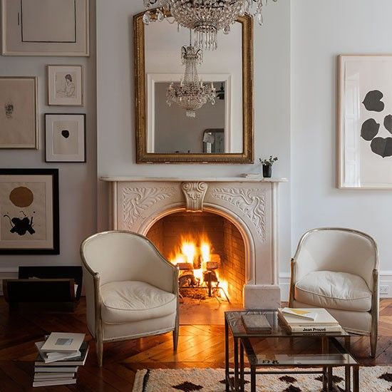 White traditional living room with fireplace | Living room decorating | Livingetc | Housetohome.co.uk