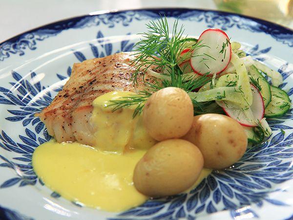 Stekt torsk med citronhollandaise och gurksallad | Recept från Köket.se