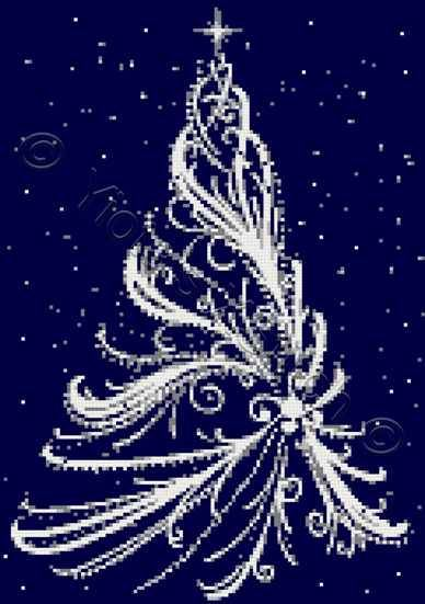 White Christmas tree cross stitch kit, pattern | Yiotas XStitch