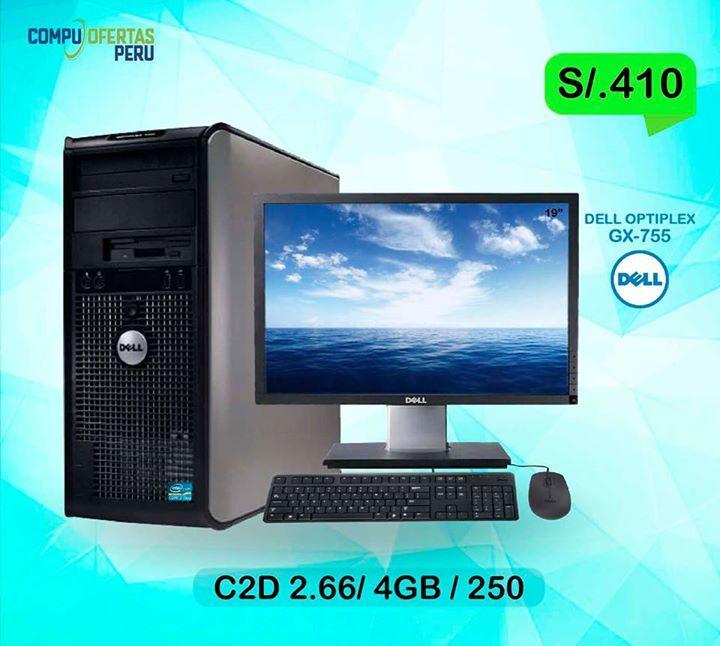 """COMPUTADORA DELL C2D 2.66 + LCD DE 19"""" DELL...S/.410 ================================================== * Marca: DELL Modelo: Optiplex GX755 Case: Tower * Procesador Intel E7300 C2D 2.66 Ghz - 1066mhz  * Memoria Ram 4GB DDR2 BUS 667/800MHZ * Disco Duro de 250GB Sata 7200 rppm * Placa Intel Q35 Express * Slot PCI Expres 16x Para Video DDR3  * DVD ROM +RW * 8 Puertos USB 2.0 * RED 10/100/1000 RJ45 * Conexion Video VGA  * ( + ) * Monitor LCD de 19"""" DELL P1911t * Pantalla PANORAMICA DE 19"""" WIDE…"""