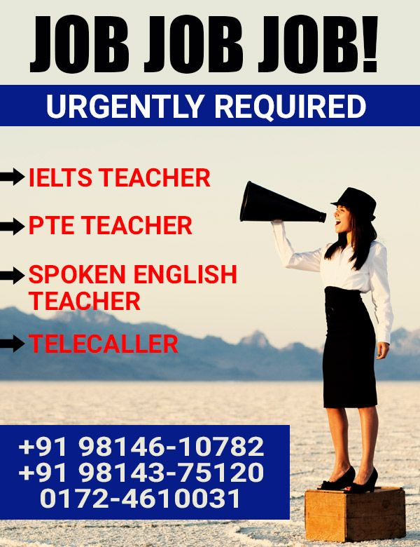 Urgently Required!!!! #IELTS, #Spoken #English, #PTE #TEACHERS & #TELECALLER  Best #Opportunity for Male/Female Teachers required for Reputed #Oxford #Academy in Chandigarh.  It's an urgent vacancy, As the job will be filled soon.  Job Type: Full-time  Contact Person: Mr. Gulshan Kumar, Director Marketing  Call us at: +91 98146 10782, +91 98143 75120, +91 98551 58431  Address: SCO 260, Ist & 2nd Floor, Sector 32D, Behind Nirman Cinema, Chandigarh, INDIA 160 030  Website…