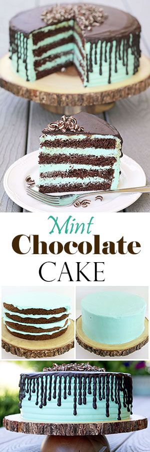 Rich chocolate sponge cake and mint cream is so tasty together and moist, you can't stop at one piece. The cake is not only delicious, but stunning. The dark brown and mint are beautifully contrasted colors that will make the cake stand out at any occasion. #