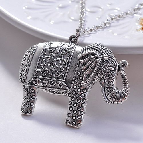 2015 New Charm Elegant Fashion Elephant Pendant Sweater Chain Retro Silver Color Necklace  NY79 7DXN