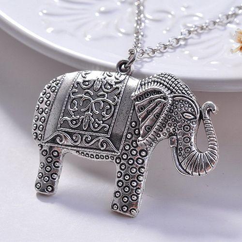 2015 Nuovo Fascino Elegante di Modo Del Pendente Dell'elefante Catena Del Maglione Retro Argento Colore Collana NY79 7DXN