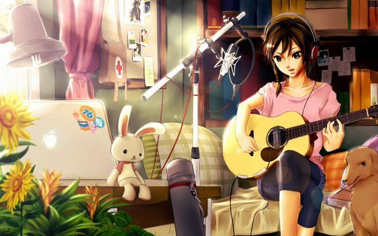 Скачать обои арт, девушка, гитара, собака бесплатно для рабочего стола в разрешении 1680x1050 — картинка №482012