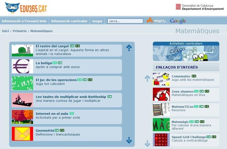 MUCHAS APLICACIONES DE MATE http://www.edu365.cat/primaria/muds/matematiques/index.htm