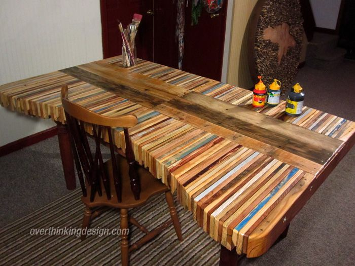 pallet table A different way of re-using pallets ... imagine each board with a different color like a collor pallet ;) ... DIY