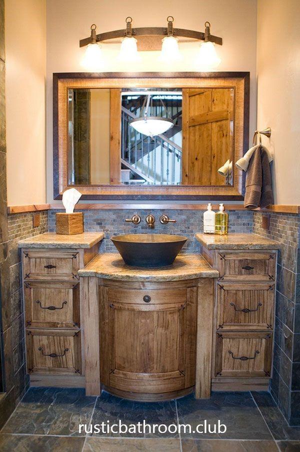 33 Rustic Bathroom Vanities With Cool Bathroom Interiors Rustichomedecor Rusticfarmhouse Rustic Bathroom Lighting Bathroom Vanity Remodel Rustic Bathrooms