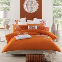 Create a striking feature for your bedroom with the captivating colour and style of Catalina, a radiant design that is splashed with beautifully embroidered, orange and white flowers. Providing colour contrast and a sense of chic elegance, the modern floral motif is bold and vibrant, displaying a fresh and sophisticated approach to floral design.