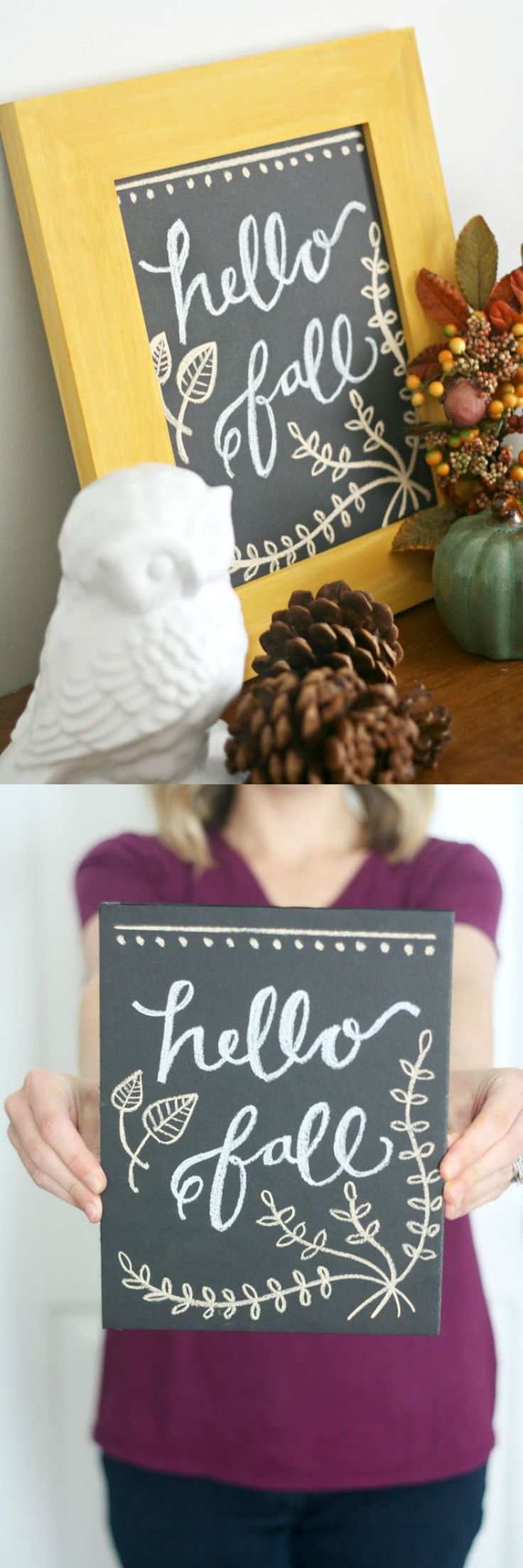 Follow this simple tutorial to create a color-stained frame and faux DIY chalkboard print, perfect for any holiday or seasonal home decor!