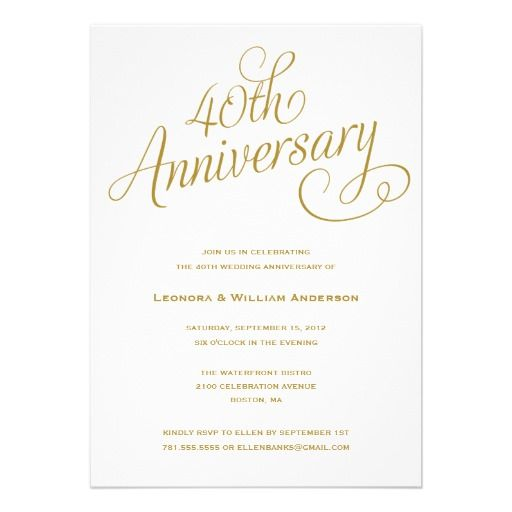 25 best 40Th Wedding Anniversary Invitations images on Pinterest - anniversary invitation