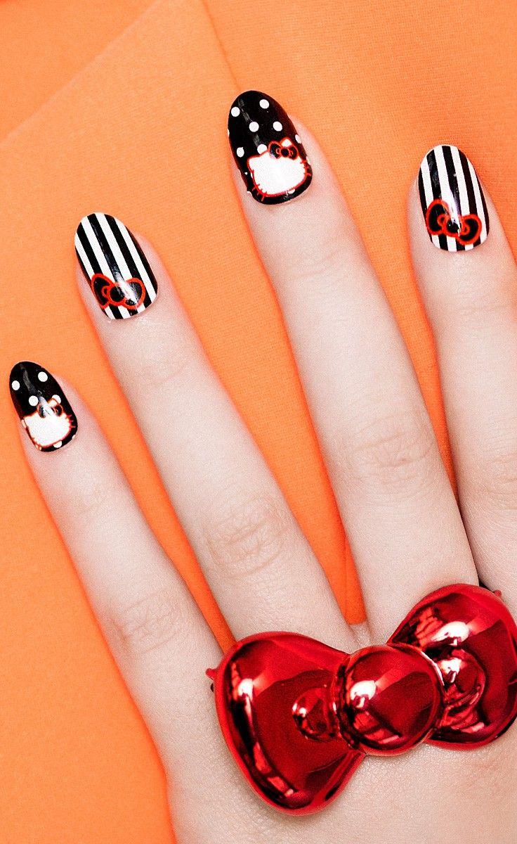 HELLO KITTY Polka Dots & Stripes!, HELLO KITTY nail wrap