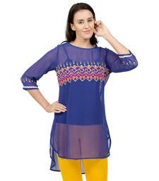 Buy Blue embroidered Georgette tunics tunic online