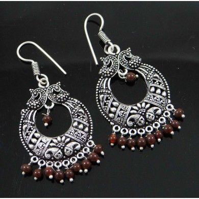 Acrylic Brown Beaded Silvertone Brass Metal Jhumka Earring Set Fashion Jewelry