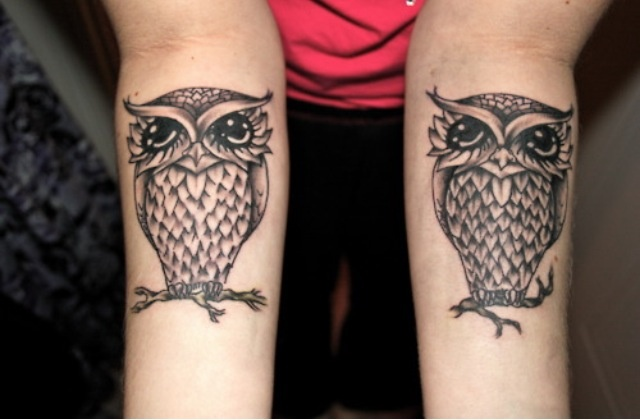 Owl ink- I would have a bit more variation, an owl with a keyhole on one arm & an owl with a key on the other arm.
