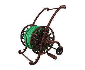 Soporte de manguera de hierro fundido con ruedas