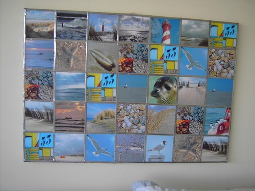 Life on the beach, made from old pictures and lead framed