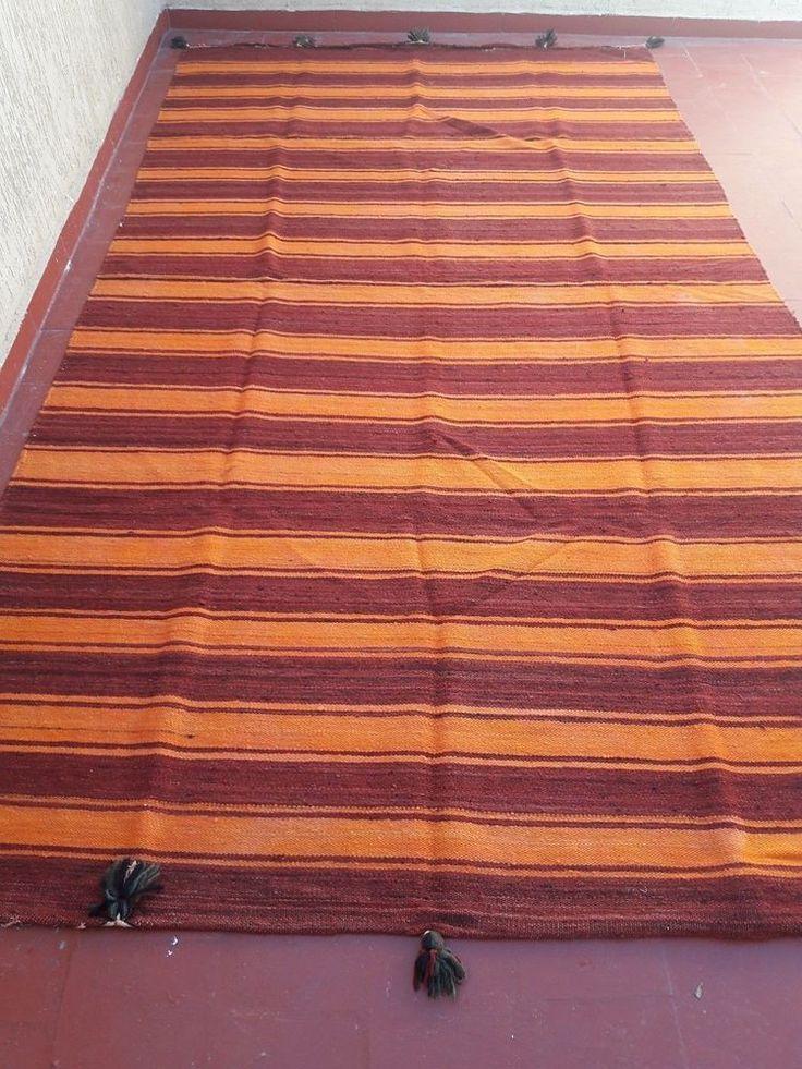 vintage moroccan berber tribal handmade striped hanbal blanket rug carpet11'x6'  #Handmade #NorthAfrican