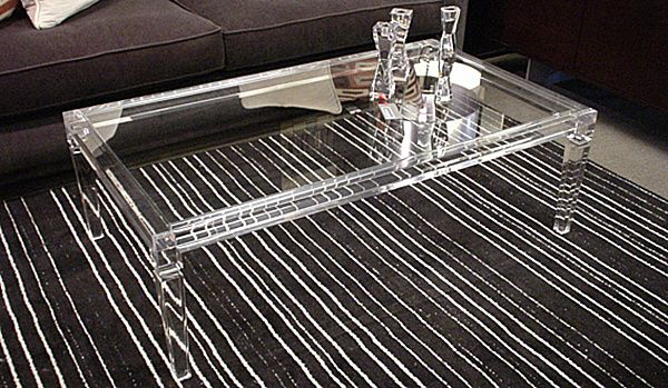 Milano Fine Leg Coffee Table, acrylic with glass top