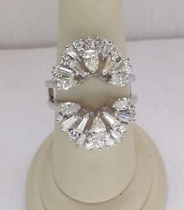 2 5ct Round Pear Baguette Diamond Ring Enhancer Wrap Insert Guard